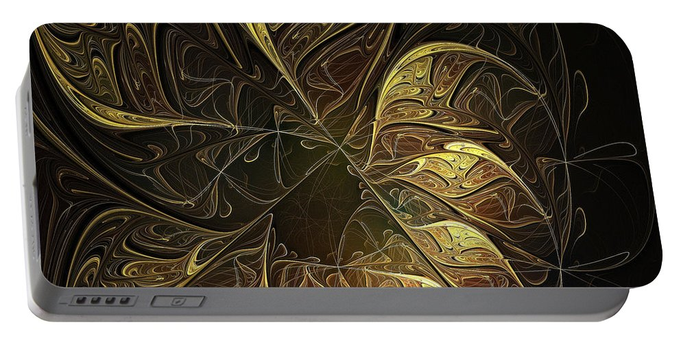 Digital Art Portable Battery Charger featuring the digital art Carved In Gold by Amanda Moore