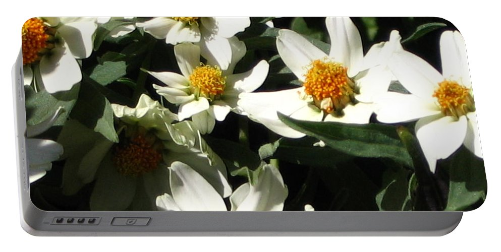 Floral Portable Battery Charger featuring the photograph Cascade Of White Flowers by Line Gagne