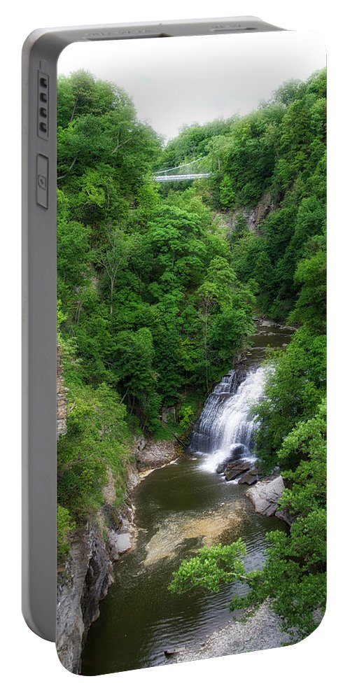 Cornell University Portable Battery Charger featuring the photograph Cascadilla Waterfalls Cornell University Ithaca New York 01 by Thomas Woolworth