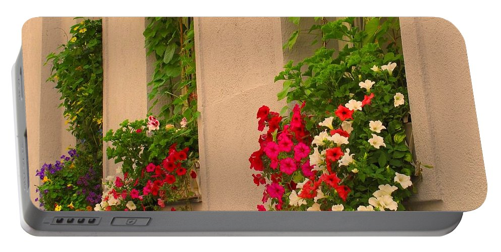Flowers Portable Battery Charger featuring the photograph Cascading Windows by Ian MacDonald
