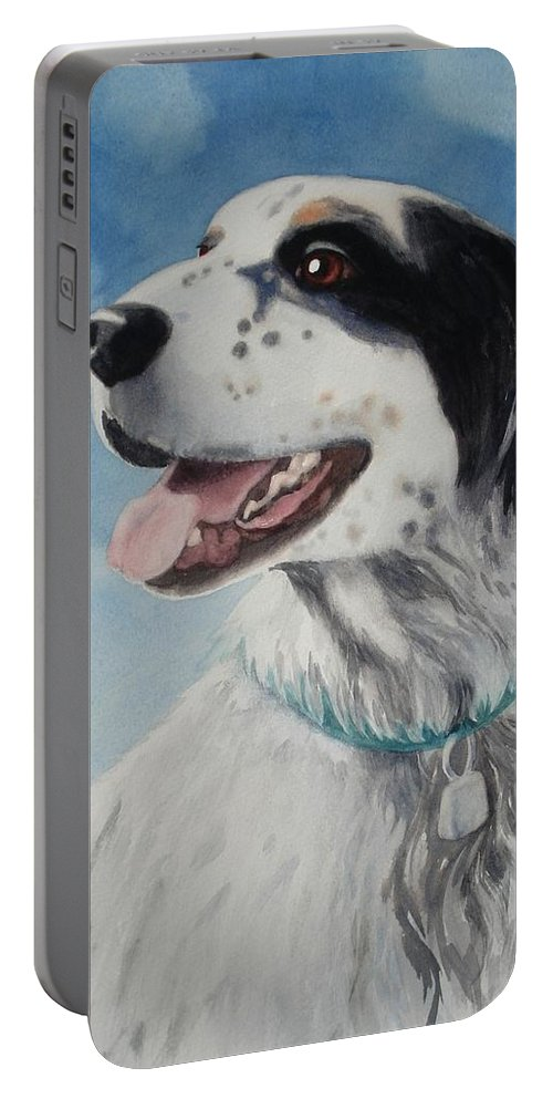Dog Portable Battery Charger featuring the painting Casey by Marilyn Jacobson
