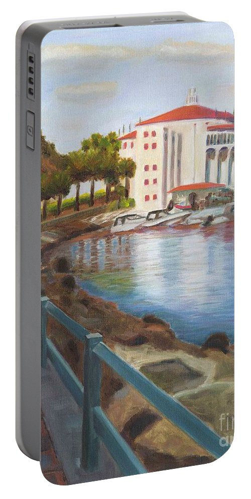 Casino Portable Battery Charger featuring the painting Casino In Avalon by Nicolas Nomicos