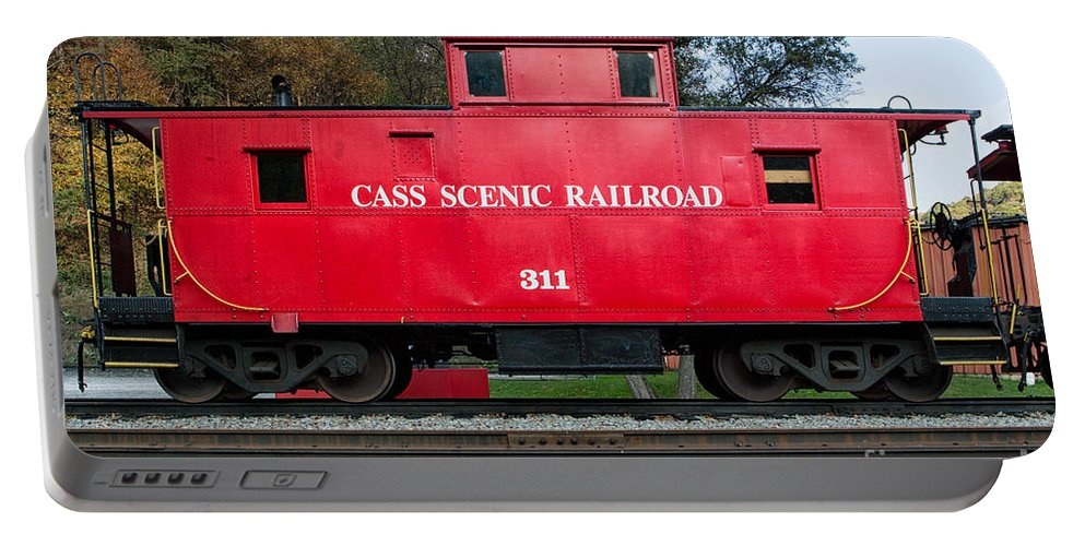 Antiquated Portable Battery Charger featuring the photograph Cass Red Caboose by Jerry Fornarotto