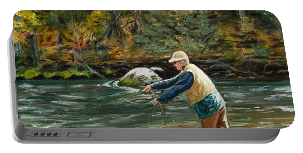 Fly Fishing Portable Battery Charger featuring the painting Cast Away by Mary Benke