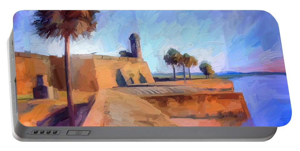 St. Augustine Portable Battery Charger featuring the digital art Castillo Rampart by Scott Waters
