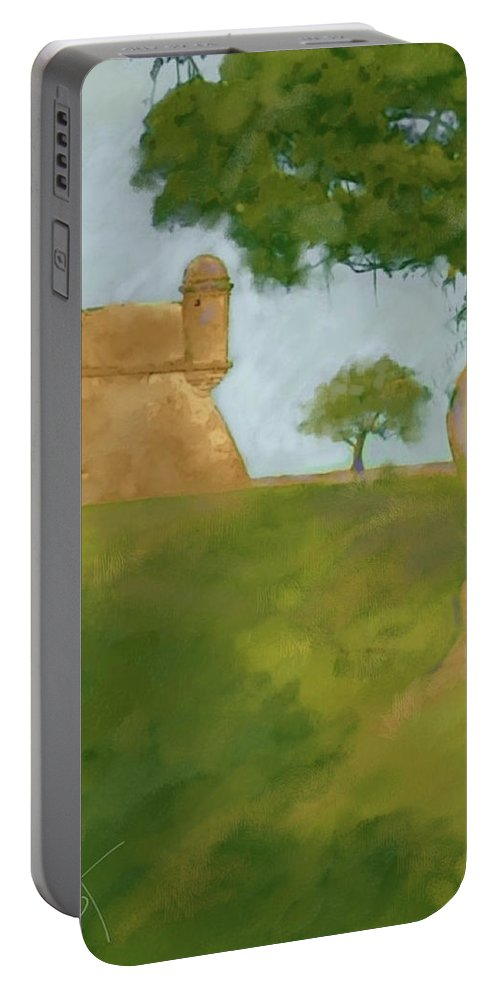 Castillo Tree Fort St. Augustine Florida Landscape Tree Spanish Portable Battery Charger featuring the digital art Castillo Tree by Scott Waters