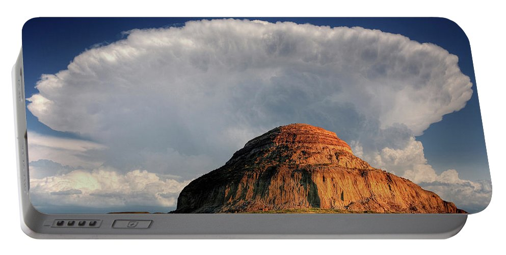 Cumulonimbus Portable Battery Charger featuring the digital art Castle Butte In Big Muddy Valley Of Saskatchewan by Mark Duffy