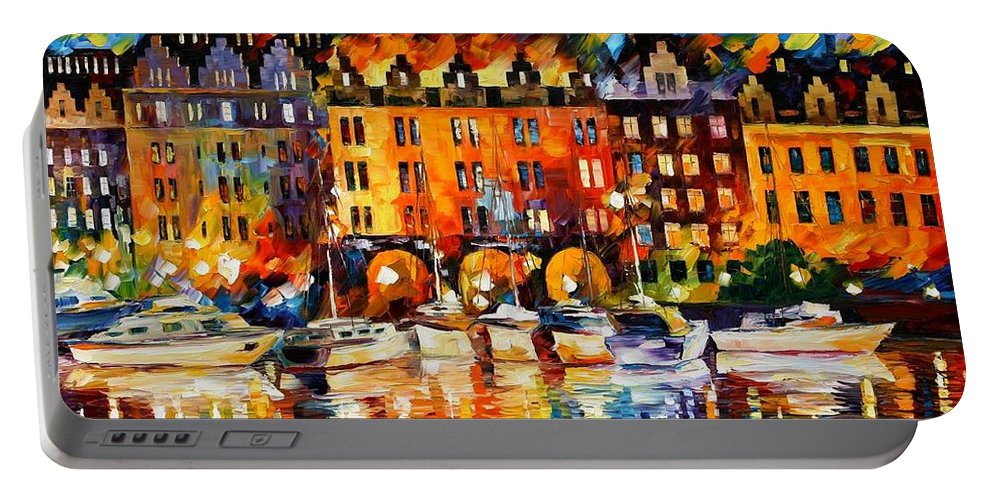 Afremov Portable Battery Charger featuring the painting Castle By The River by Leonid Afremov