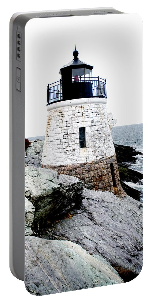 Lighthouse Portable Battery Charger featuring the photograph Castle Hill Light by Greg Fortier