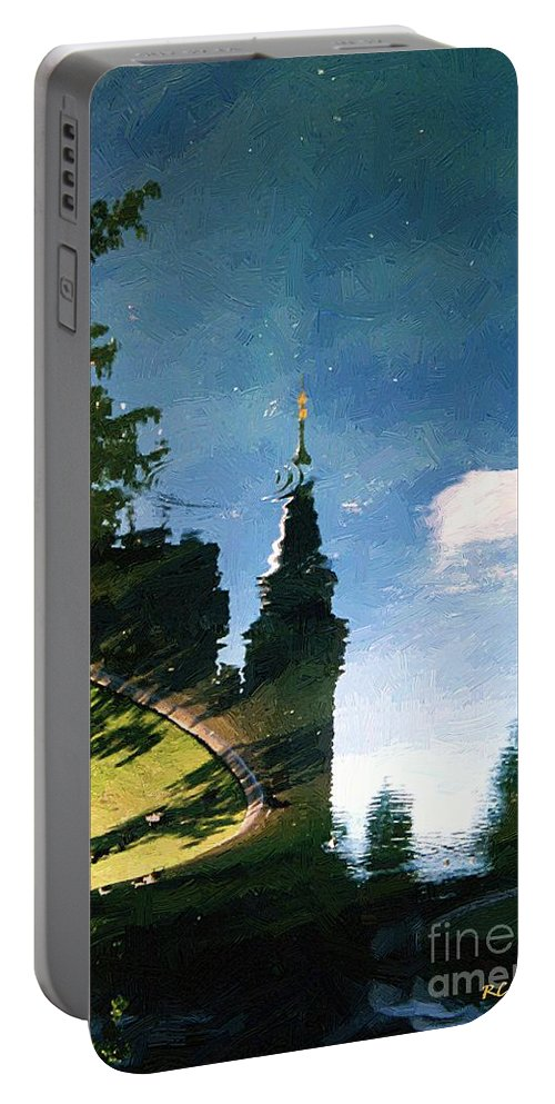 Castle Portable Battery Charger featuring the painting Castle In The Lake by RC DeWinter