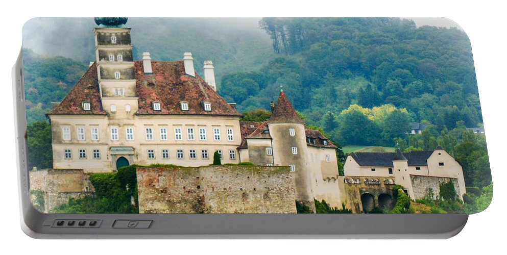 Mist Portable Battery Charger featuring the photograph Castle In The Mist by Lisa Kilby