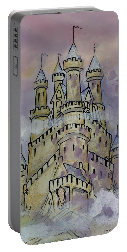 Castle Portable Battery Charger featuring the greeting card Castle by Kevin Middleton