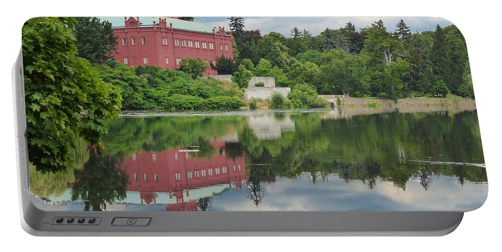 Ancient Portable Battery Charger featuring the photograph Castle On The Lake by Miroslav Nemecek