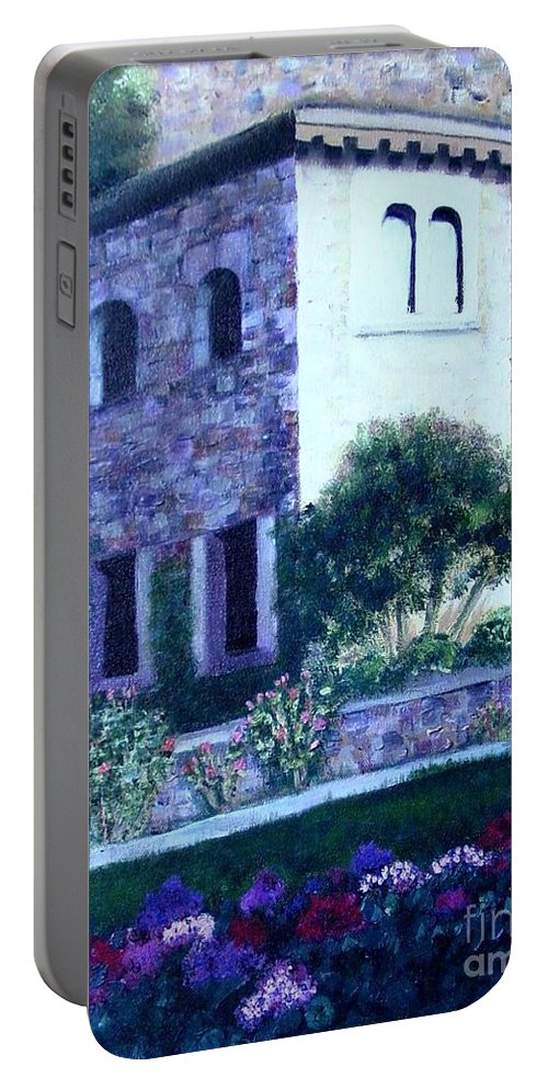 Italy Portable Battery Charger featuring the painting Castle Sestri Levante by Laurie Morgan