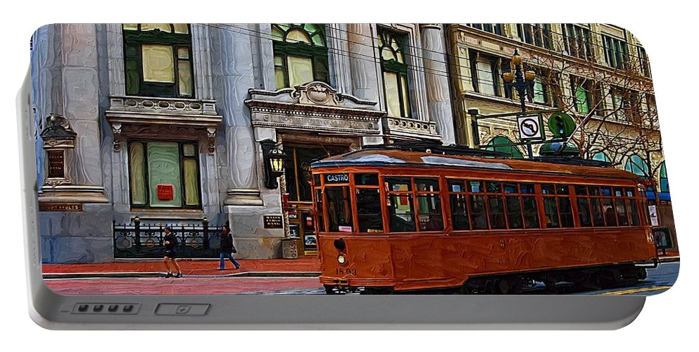 Trolley Portable Battery Charger featuring the photograph Castro Street Trolley by Tom Reynen