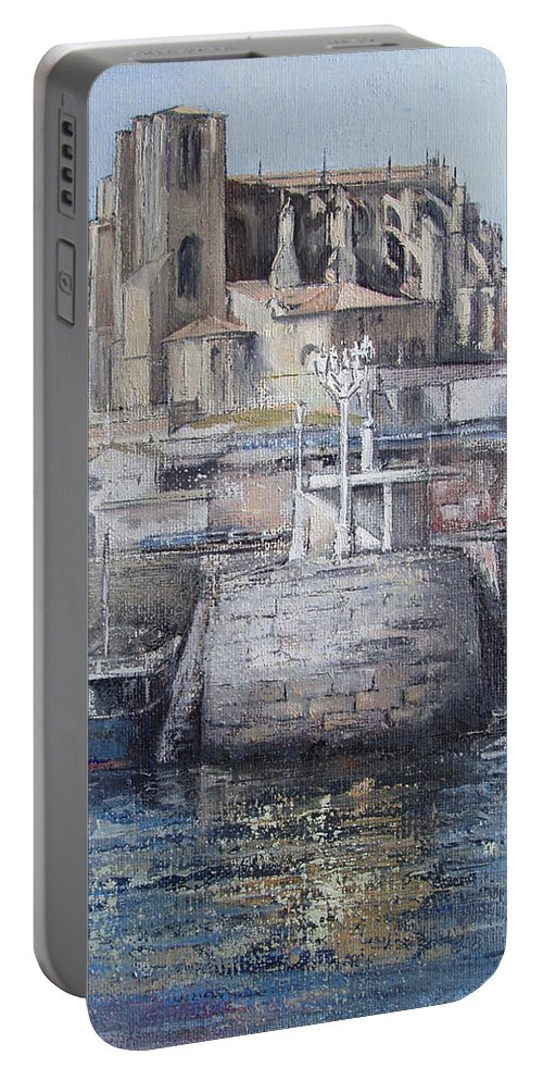 Castro Portable Battery Charger featuring the painting Castro Urdiales by Tomas Castano