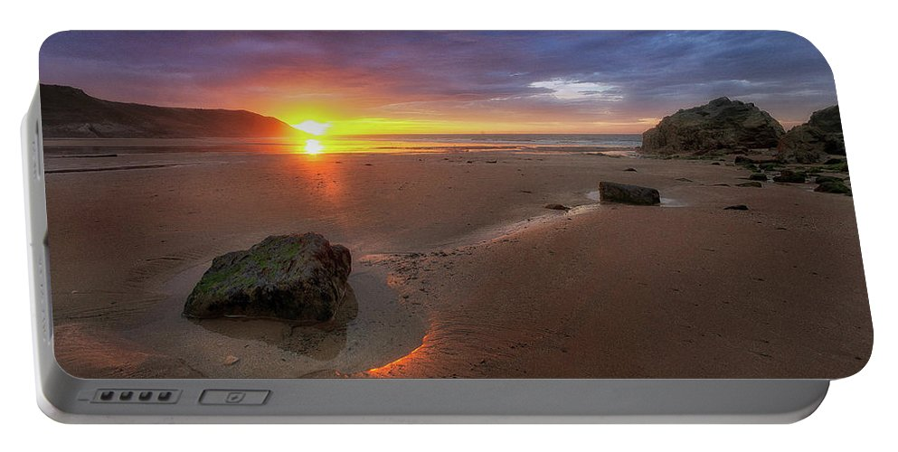 Caswell Bay Portable Battery Charger featuring the photograph Caswell Bay Sunrise by Leighton Collins