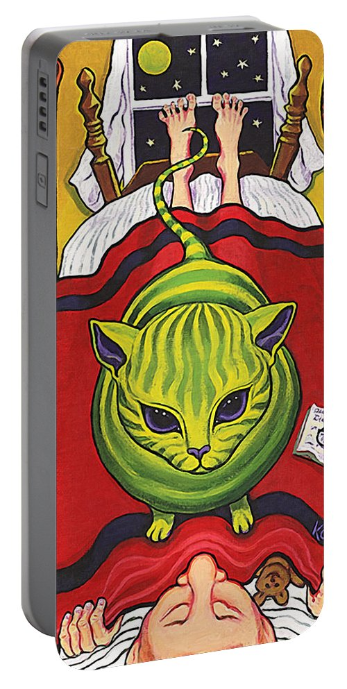 Rebecca Korpita Portable Battery Charger featuring the painting Cat - Alien Abduction by Rebecca Korpita