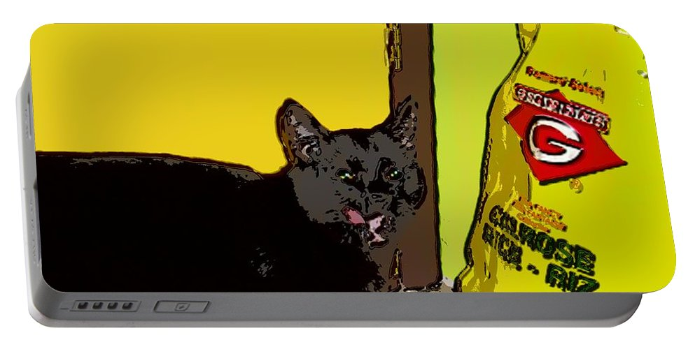 Photograph Cat Black Rice Yellow Critter Green Red Portable Battery Charger featuring the photograph Cat And Rice by Seon-Jeong Kim