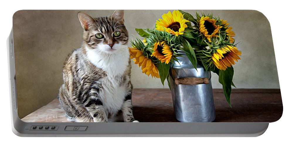 Cat Portable Battery Charger featuring the painting Cat and Sunflowers by Nailia Schwarz
