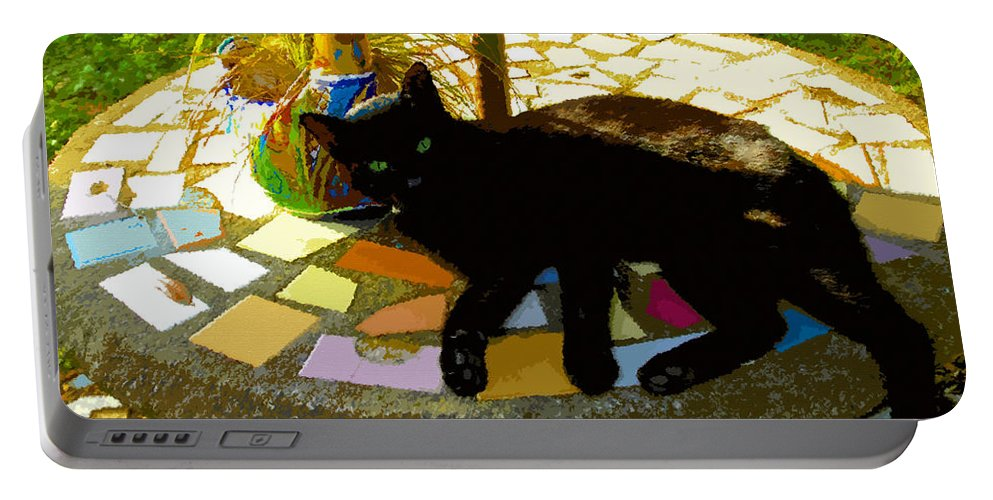 Black Cat Portable Battery Charger featuring the painting Cat And Table by David Lee Thompson