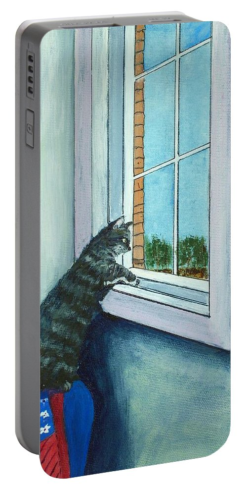 Malakhova Portable Battery Charger featuring the painting Cat By The Window by Anastasiya Malakhova