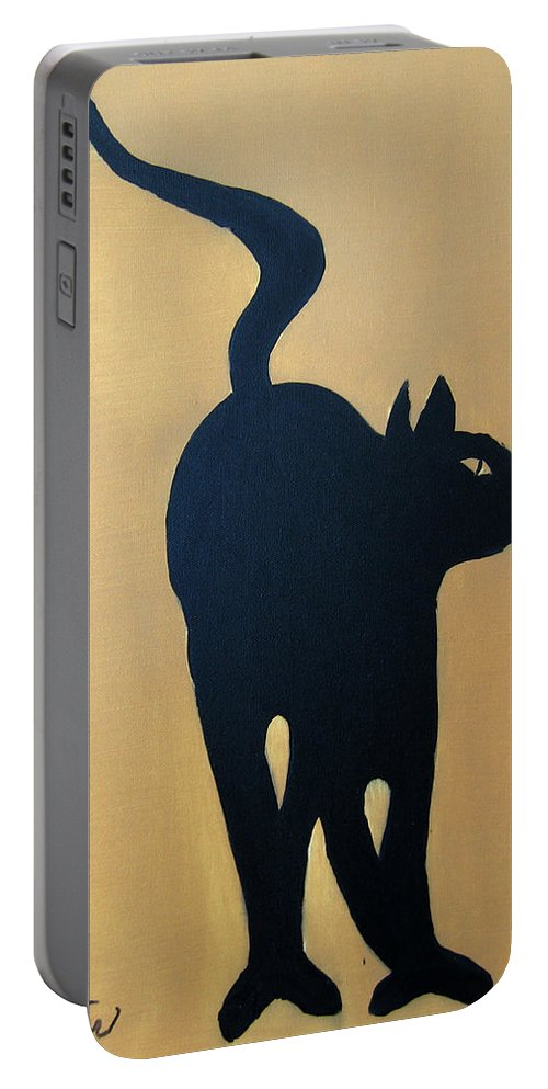 Cat Portable Battery Charger featuring the painting Cat Dance..... Optical Illusion by Patrick Trotter