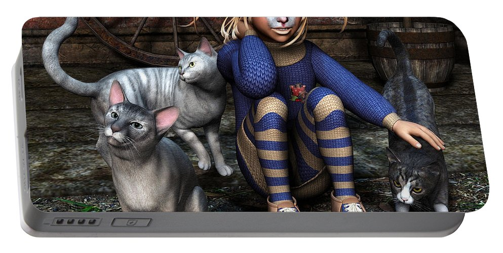3d Portable Battery Charger featuring the digital art Cat Girl by Jutta Maria Pusl