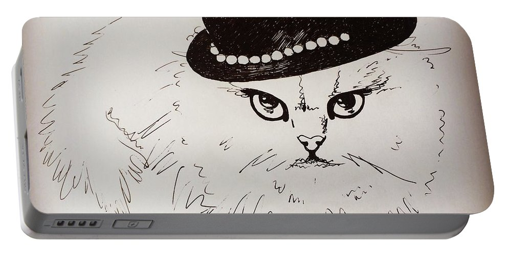 Cat Portable Battery Charger featuring the drawing Snow White Wearing A Hat by Pookie Pet Portraits