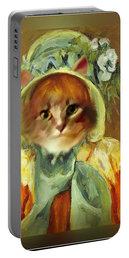 Cassatt Portable Battery Charger featuring the painting Cat In Bonnet by Gravityx9 Designs