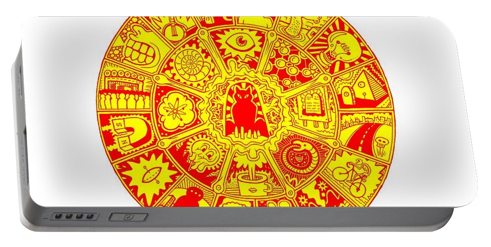 Mandala Portable Battery Charger featuring the drawing Cat Mandala Yellow And Red by Larry Carey