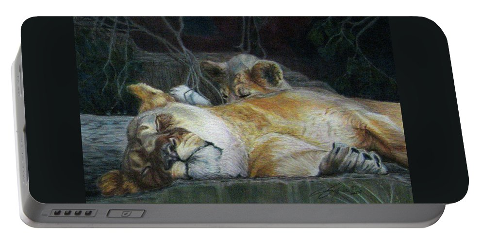 Fuqua - Artwork Portable Battery Charger featuring the drawing Cat Nap by Beverly Fuqua