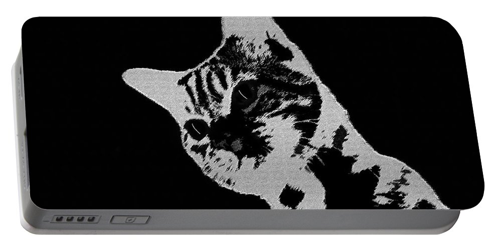 Art Portable Battery Charger featuring the painting Cat On A Hot Tin Roof by David Lee Thompson