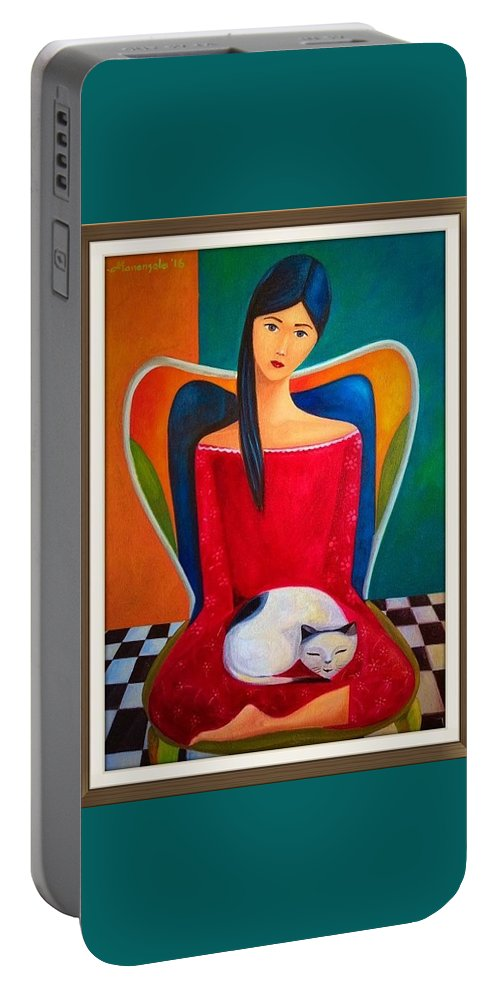 Portable Battery Charger featuring the painting Cat On My Lap by Khristina Manansala