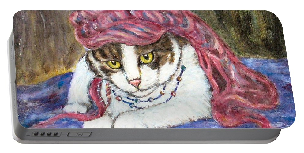 Cat Painting Portable Battery Charger featuring the painting Tabby Cat With Yellow Eyes by Frances Gillotti