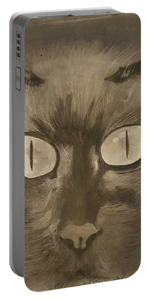 Cat Portable Battery Charger featuring the drawing Cat by Tana Coleman