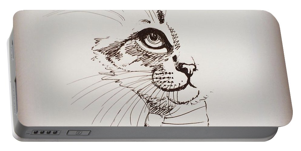 Cat Portable Battery Charger featuring the drawing Cat Wearing A Bow Tie by Pookie Pet Portraits