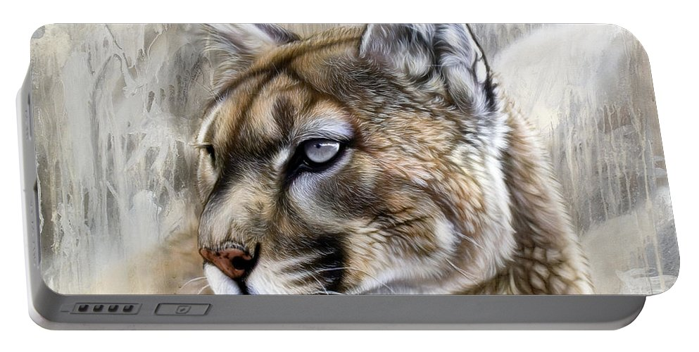 Acrylic Portable Battery Charger featuring the painting Catamount by Sandi Baker