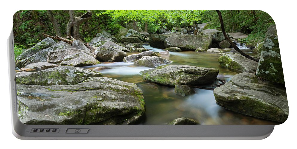 Appalachian Portable Battery Charger featuring the photograph Catawba River In Summer by Ranjay Mitra