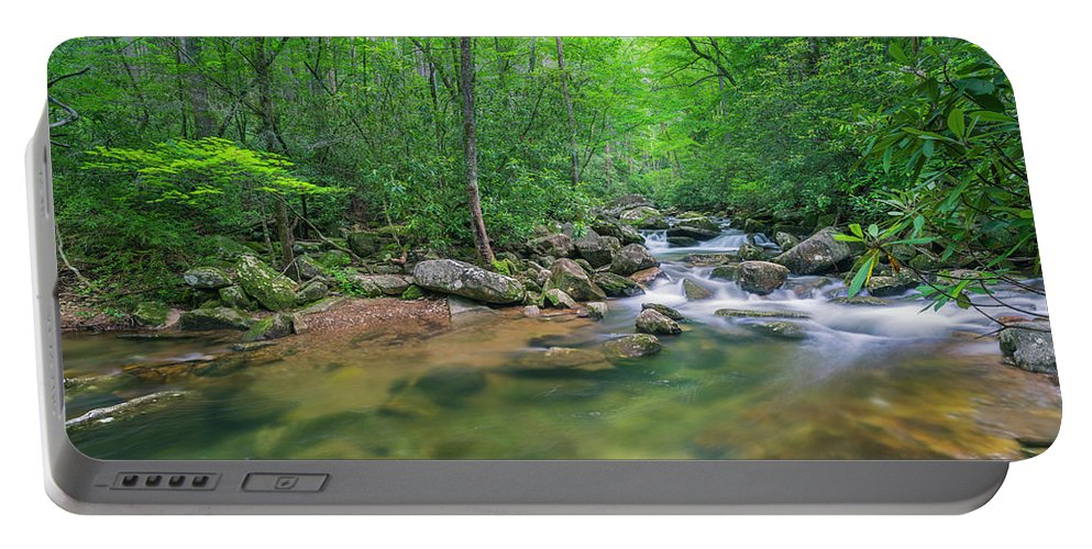 Appalachian Portable Battery Charger featuring the photograph Catawba River Panorama by Ranjay Mitra