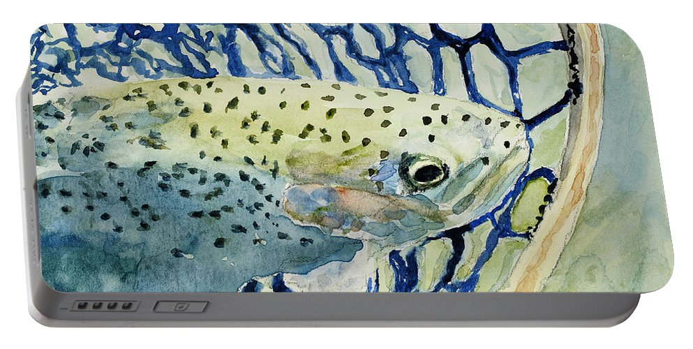Fish Portable Battery Charger featuring the painting Catch And Release by Mary Benke