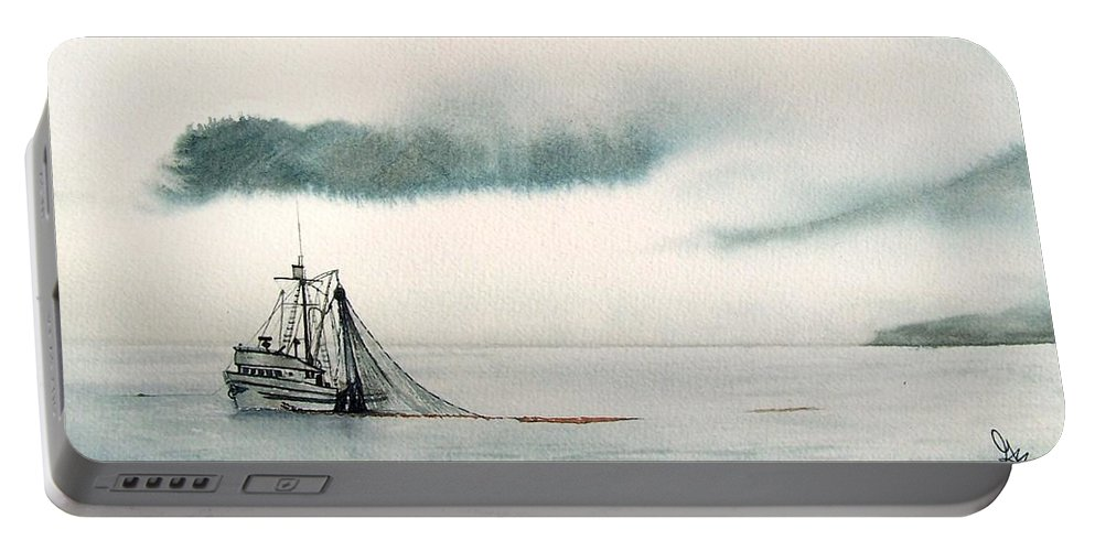 Fishing Boat Portable Battery Charger featuring the painting Catch Of The Day by Gale Cochran-Smith