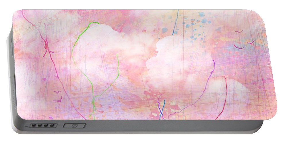 Abstract Portable Battery Charger featuring the digital art Catching Clouds by Rachel Christine Nowicki