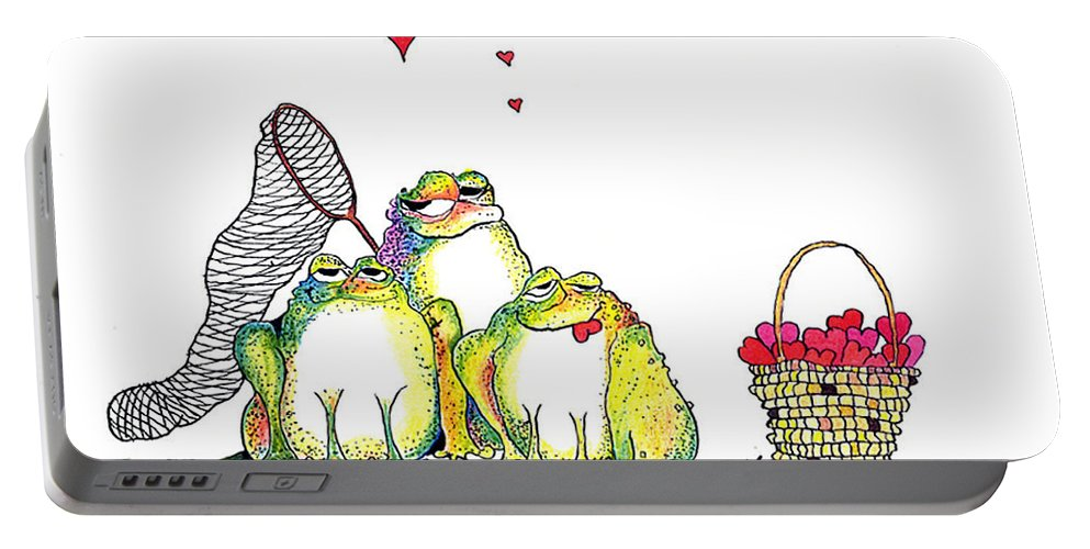 Valentine Card Portable Battery Charger featuring the painting Catching Hearts by Pat Saunders-White