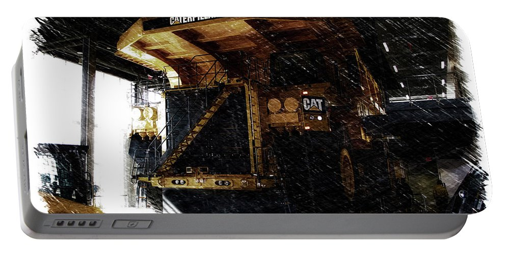 Caterpillar Portable Battery Charger featuring the mixed media Caterpillar 797f Mining Truck Pa by Thomas Woolworth