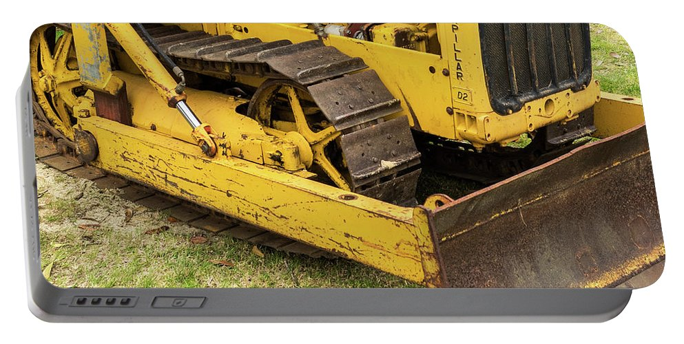 Yellow Portable Battery Charger featuring the photograph Caterpillar D2 Bulldozer 01 by Rick Piper Photography