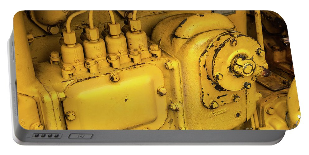 Yellow Portable Battery Charger featuring the photograph Caterpillar D2 Bulldozer 06 by Rick Piper Photography