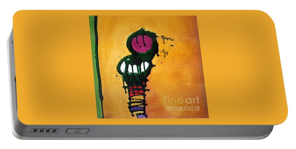Insect Portable Battery Charger featuring the painting Caterpillar by Marlene Burns