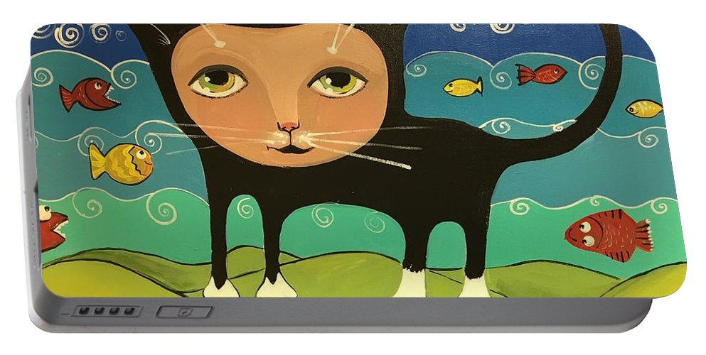 Easterseals Southwest Florida Portable Battery Charger featuring the painting Catfish by Cindy B and Louie M