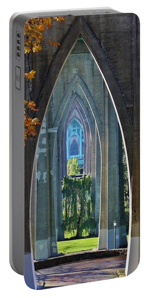 Bridge Portable Battery Charger featuring the photograph Cathedral Columns Of The St. Johns Bridge by Bruce Bley